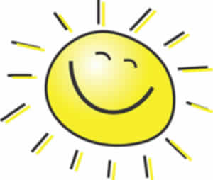 Happy face smiling sun icon